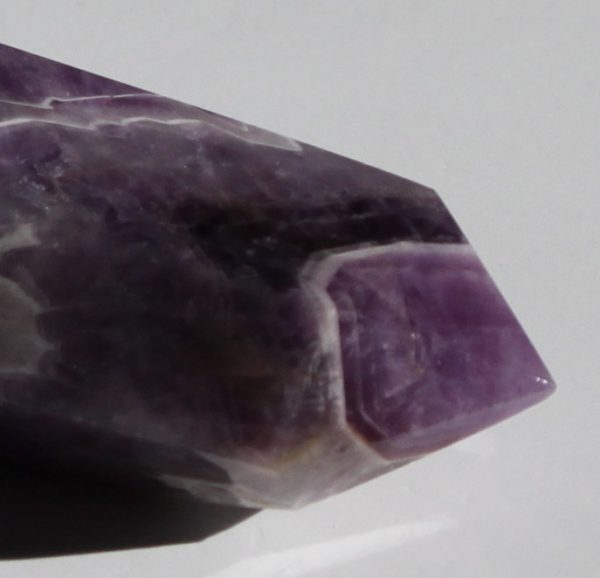 chevron amethyst double terminated polished wand, ethical source