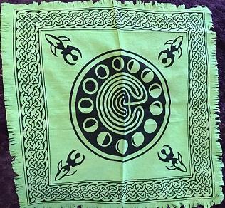 Cotton green altar cloth moon cycle