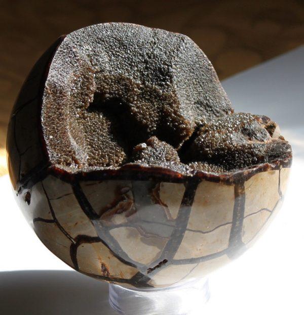 Black calcite hatched egg sphere