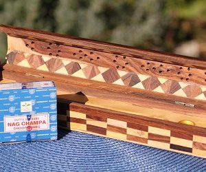 Wooden coffin box stick cone incense burner and storage