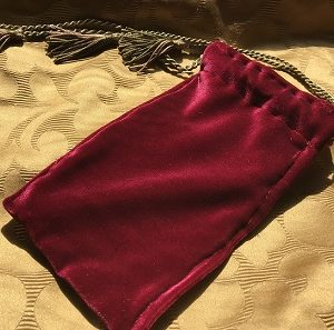 Velvet tarot bag satin lined hand made by Dawn Markus, MC